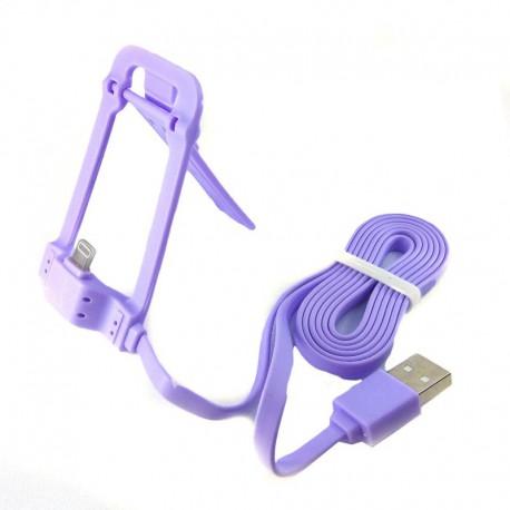 Подставка для телефона Casni CN-801 с iPhone 5G/6G/7G Lighting - USB кабелем 1м Purple (Фиолетовый)