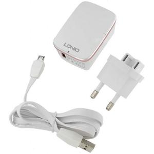 Зарядное устройство LDNIO A1204Q Quick Charge 2.0 2 в 1 (V8) 2.4A