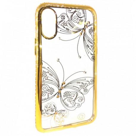 Чехол силиконовый Kings Bar Butterfly для iPhone X/Xs Gold