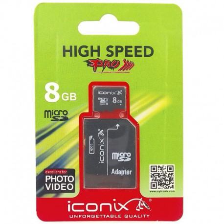 Карта памяти IcoNiX MicroSD + Adapter 8 ГБ Class 6