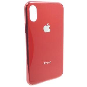 Чехол пластиковый Original Glass Case для iPhone X/Xs Red