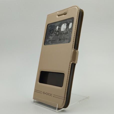 Кожаный противоударный чехол-книжка G-CASE Samsung Galaxy J5 2016 J510 Gold