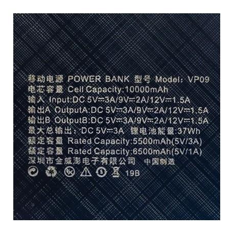 NEW Power Bank VIPtek VP09 10000mAh QC3.0 Black
