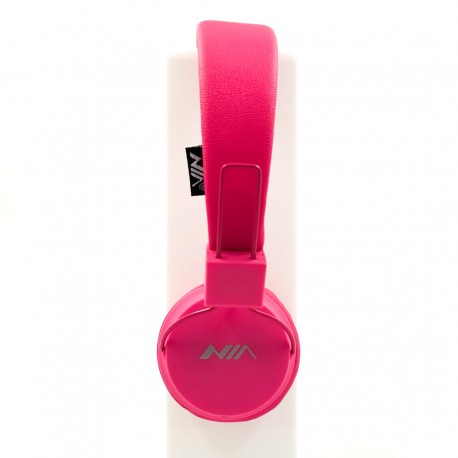 Накладные проводные наушники с микрофоном NIA A1 Pink