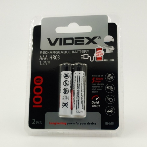 Аккумуляторы никель-металлогидридные Videx AAA 1000 mAh (2 шт)