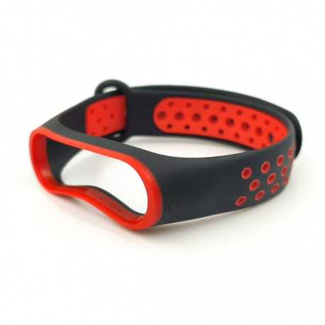 Браслет для MiBand 3/4 black-red