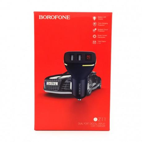 Автомобильное зарядное устройство с вольтметром 2USB Borofone BZ11