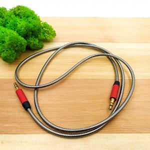 Металлический усиленый аудио кабель 3.5mm AUX 1,5m