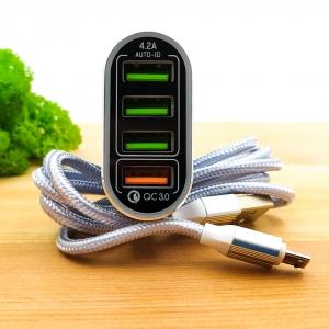 Автомобильное зарядное устройство с поддержкой быстрой зарядки QС 2.0 4USB LDNIO C701Q