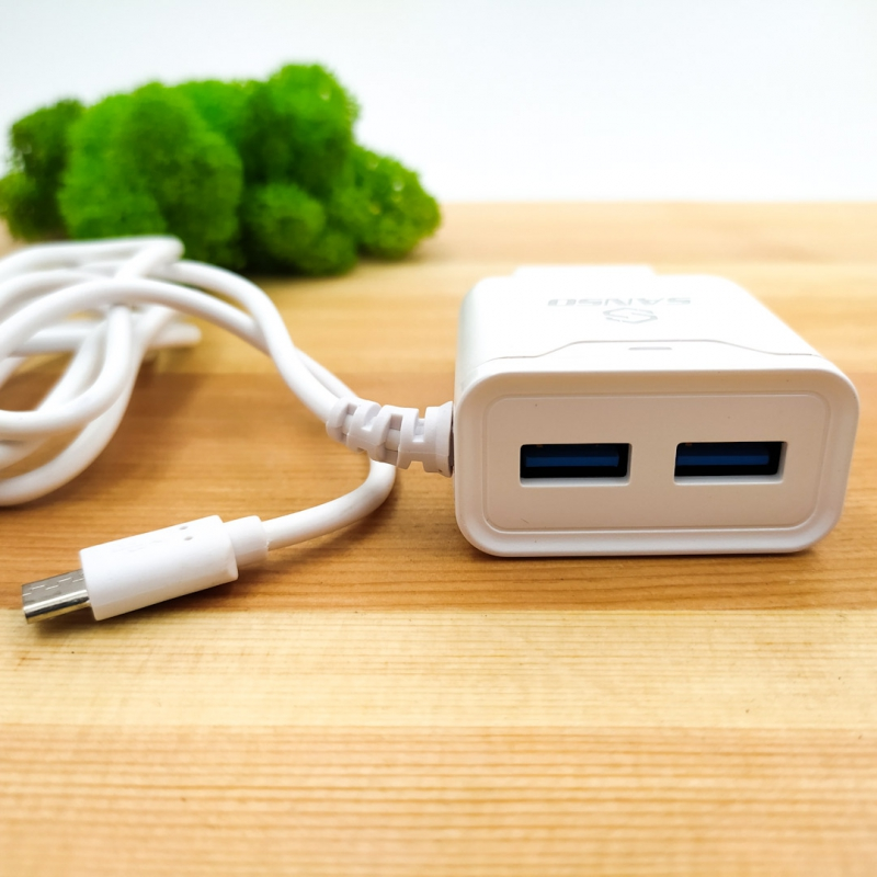 Сетевое зарядное устройство Micro USB + 2 USB Sertek 2,4A