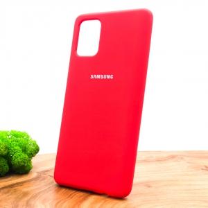 Оригинальный матовый чехол-накладка Silicone Case Samsung A71 Red