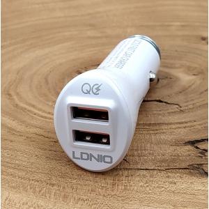 Автомобильное зарядное устройство + кабель Lightning QC3.0/2USB Ldnio C511Q