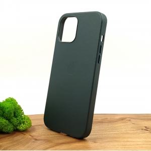 Оригинальный кожаный чехол-накладка Molan Leather Case for Apple iPhone 12 Pro Max Pine green