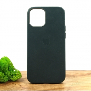 Оригинальный кожаный чехол-накладка Molan Leather Case for Apple iPhone 12 Mini Pine Green