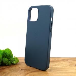 Оригинальный кожаный чехол-накладка Molan Leather Case for Apple iPhone 12 Pro Max Blue