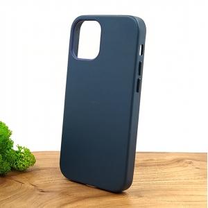 Оригинальный кожаный чехол-накладка Molan Leather Case for Apple iPhone 12 Mini Blue