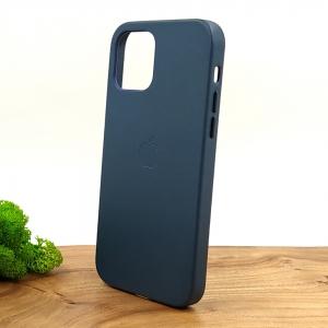 Оригинальный кожаный чехол-накладка Molan Leather Case for Apple iPhone 12 Pro Blue
