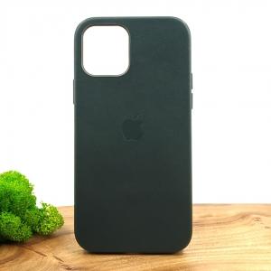 Оригинальный кожаный чехол-накладка Molan Leather Case for Apple iPhone 12 Pro Pine green