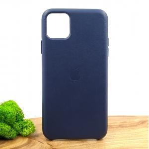 Оригинальный кожаный чехол-накладка Molan Leather Case for Apple iPhone 11 Pro max Blue