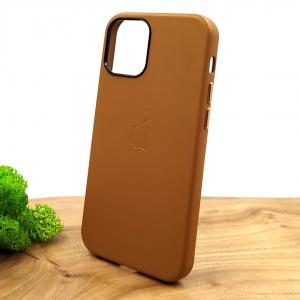 Оригинальный кожаный чехол-накладка Molan Leather Case для IPHONE 12(5.4) Brown
