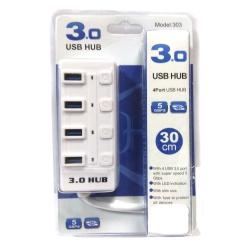 Хаб USB 3.0 Siyoteam 303 (4 порта) 30см Led White (Белый)