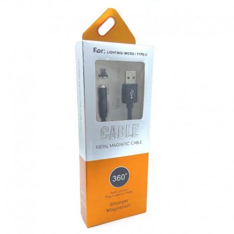 Кабель Magnetic 360 USB - MicroUSB усиленный Black (Черный)