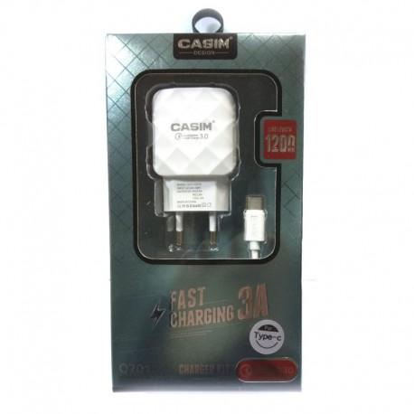 Сетевое зарядное устройство CASIM Q701 2в1 Fast Charg Fast Charge USB 3.0 A - Type-C 3A 1.2 м White (Белый)
