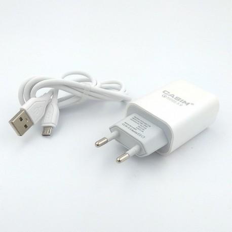 СЗУ CASIM Q701 2 в 1 Fast Charge MicroUSB + USB 3A
